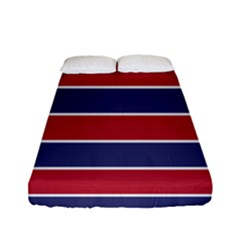 Large Red White And Blue Usa Memorial Day Holiday Horizontal Cabana Stripes Fitted Sheet (full/ Double Size) by PodArtist