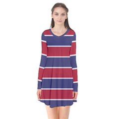 Large Red White And Blue Usa Memorial Day Holiday Horizontal Cabana Stripes Long Sleeve V Neck Flare Dress by PodArtist