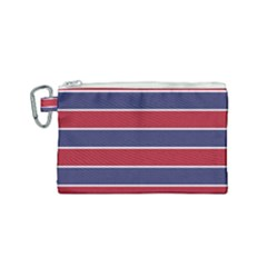 Large Red White And Blue Usa Memorial Day Holiday Horizontal Cabana Stripes Canvas Cosmetic Bag (small) by PodArtist