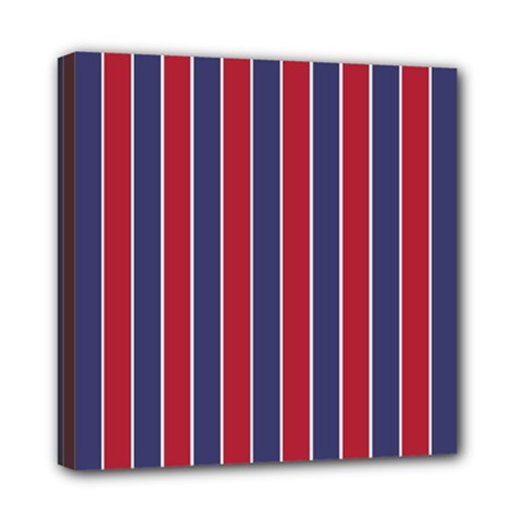 Large Red White And Blue Usa Memorial Day Holiday Pinstripe Mini Canvas 8  X 8  by PodArtist