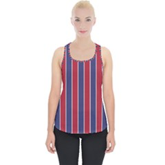 Large Red White And Blue Usa Memorial Day Holiday Pinstripe Piece Up Tank Top