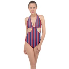 Large Red White And Blue Usa Memorial Day Holiday Pinstripe Halter Front Plunge Swimsuit