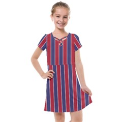 Large Red White And Blue Usa Memorial Day Holiday Pinstripe Kids  Cross Web Dress