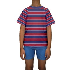 Large Red White And Blue Usa Memorial Day Holiday Pinstripe Kids  Short Sleeve Swimwear by PodArtist
