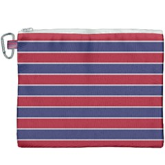 Large Red White And Blue Usa Memorial Day Holiday Pinstripe Canvas Cosmetic Bag (xxxl) by PodArtist