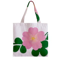 Rose Flower Briar Pink Flowers Zipper Grocery Tote Bag by Sapixe