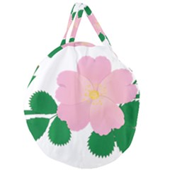 Rose Flower Briar Pink Flowers Giant Round Zipper Tote