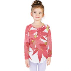 Leaves Maple Branch Autumn Fall Kids  Long Sleeve Tee