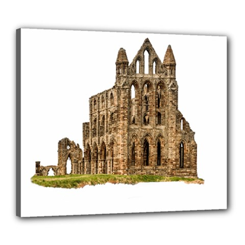 Ruin Monastery Abbey Gothic Whitby Canvas 24  X 20  by Sapixe