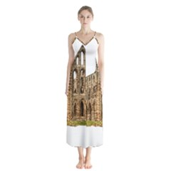 Ruin Monastery Abbey Gothic Whitby Button Up Chiffon Maxi Dress