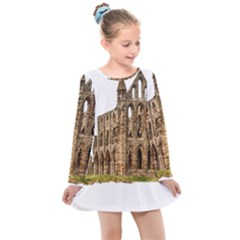 Ruin Monastery Abbey Gothic Whitby Kids  Long Sleeve Dress