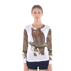 Bird Owl Animal Vintage Isolated Women s Long Sleeve Tee