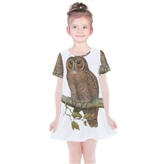 Bird Owl Animal Vintage Isolated Kids  Simple Cotton Dress by Sapixe