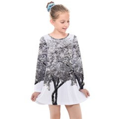Nature Tree Blossom Bloom Cherry Kids  Long Sleeve Dress by Sapixe