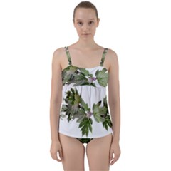 Leaves Plant Branch Nature Foliage Twist Front Tankini Set