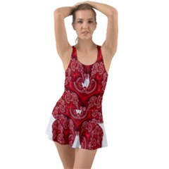 Butterfly Red Fractal Art Nature Ruffle Top Dress Swimsuit