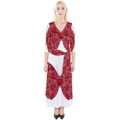 Butterfly Red Fractal Art Nature Quarter Sleeve Wrap Maxi Dress