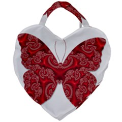 Butterfly Red Fractal Art Nature Giant Heart Shaped Tote by Sapixe