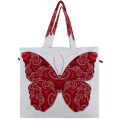 Butterfly Red Fractal Art Nature Canvas Travel Bag