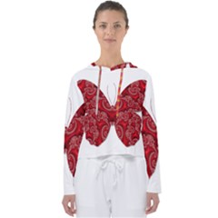 Butterfly Red Fractal Art Nature Women s Slouchy Sweat