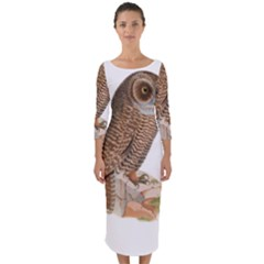 Bird Owl Animal Vintage Isolated Quarter Sleeve Midi Bodycon Dress