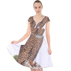 Bird Owl Animal Vintage Isolated Cap Sleeve Front Wrap Midi Dress