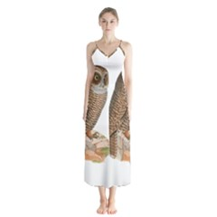 Bird Owl Animal Vintage Isolated Button Up Chiffon Maxi Dress