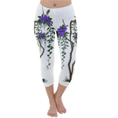 Image Cropped Tree With Flowers Tree Capri Winter Leggings