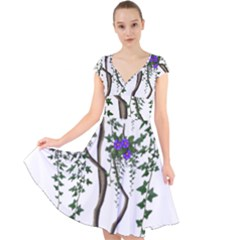 Image Cropped Tree With Flowers Tree Cap Sleeve Front Wrap Midi Dress
