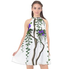 Image Cropped Tree With Flowers Tree Halter Neckline Chiffon Dress