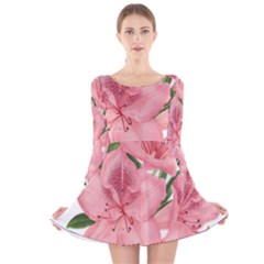 Flower Plant Blossom Bloom Vintage Long Sleeve Velvet Skater Dress