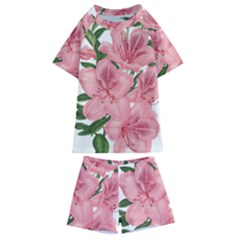 Flower Plant Blossom Bloom Vintage Kids  Swim Tee And Shorts Set