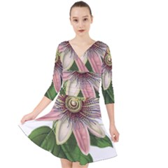 Passion Flower Flower Plant Blossom Quarter Sleeve Front Wrap Dress by Sapixe