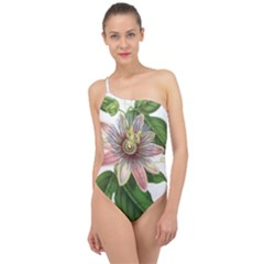 Passion Flower Flower Plant Blossom Classic One Shoulder Swimsuit