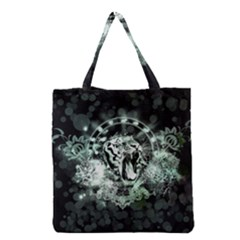 Awesome Tiger In Green And Black Grocery Tote Bag by FantasyWorld7
