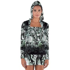 Awesome Tiger In Green And Black Long Sleeve Hooded T-shirt by FantasyWorld7