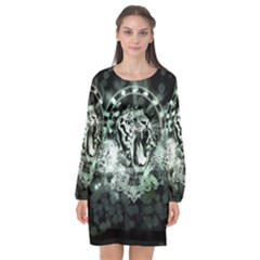 Awesome Tiger In Green And Black Long Sleeve Chiffon Shift Dress  by FantasyWorld7