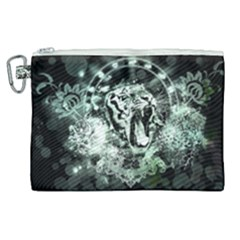 Awesome Tiger In Green And Black Canvas Cosmetic Bag (xl)
