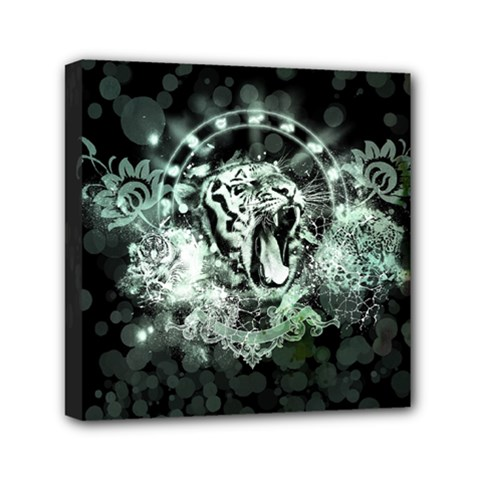 Awesome Tiger In Green And Black Mini Canvas 6  X 6  by FantasyWorld7