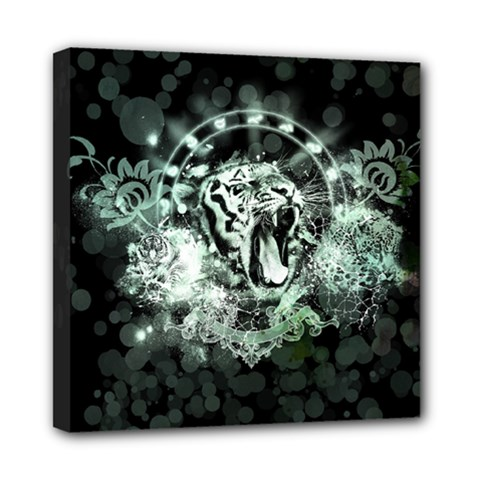 Awesome Tiger In Green And Black Mini Canvas 8  X 8  by FantasyWorld7