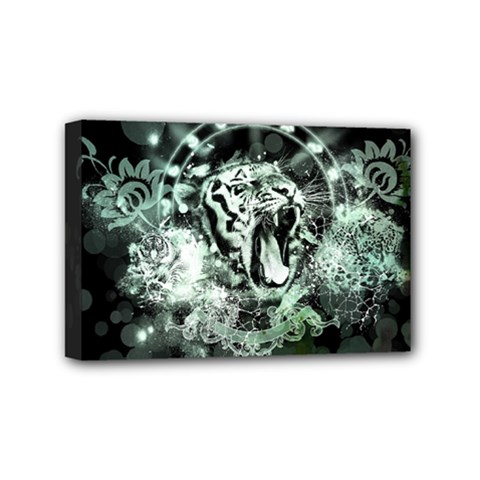Awesome Tiger In Green And Black Mini Canvas 6  X 4