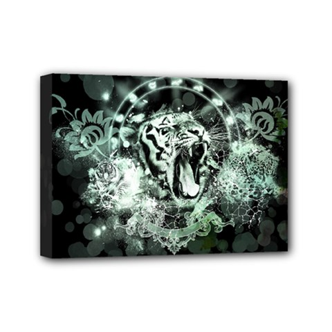 Awesome Tiger In Green And Black Mini Canvas 7  X 5  by FantasyWorld7
