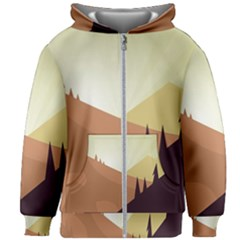 Sky Art Silhouette Panoramic Kids Zipper Hoodie Without Drawstring