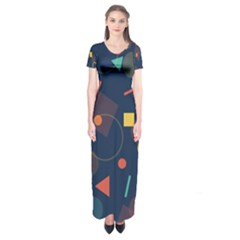 Background Backdrop Geometric Short Sleeve Maxi Dress by Sapixe