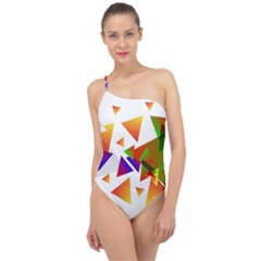 Abstract Pattern Background Design Classic One Shoulder Swimsuit