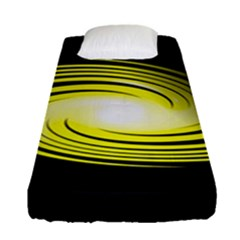Fractal Swirl Yellow Black Whirl Fitted Sheet (single Size) by Sapixe