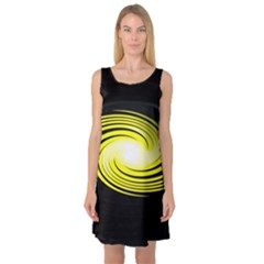 Fractal Swirl Yellow Black Whirl Sleeveless Satin Nightdress