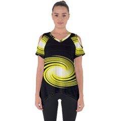 Fractal Swirl Yellow Black Whirl Cut Out Side Drop Tee by Sapixe