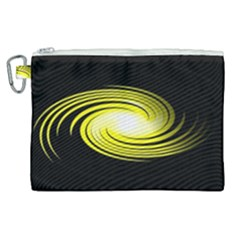 Fractal Swirl Yellow Black Whirl Canvas Cosmetic Bag (xl)