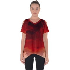 Flaming Skies Ominous Fire Clouds Cut Out Side Drop Tee